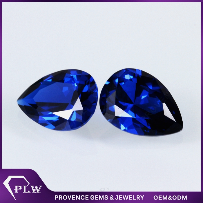 Lab created blue sapphire 9*7mm pear cut loose sapphire for jewelry