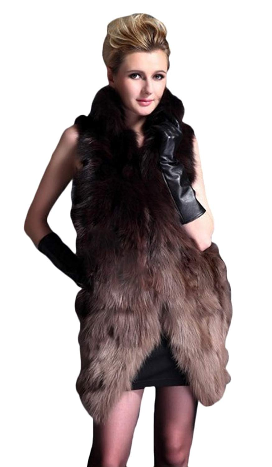 Queenshiny Long Women's 100% Real Genuine Fox Fur Vest With Stand Collar
