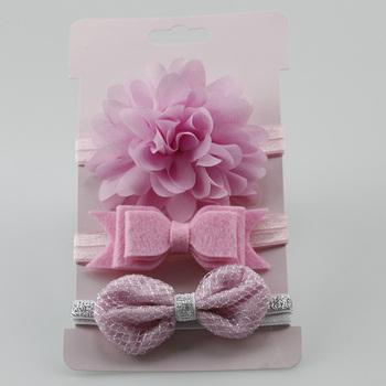 4aff96f58d17 Cute 3Pcs/Set Baby Girl Headbands Elastic Bowknot Hair Band Turban Kids  Skinny Stretchy Flower
