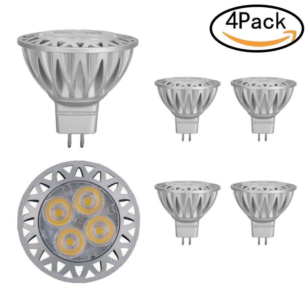 JKLcom MR16 LED Bulb MR16 GU5.3 Base 12V Spotlight Bulb for Outdoor Landscape Track Lighting,Not Dimmable,Cool White 6000K,5W(50W Halogen Bulbs Equivalent),Pack of 4