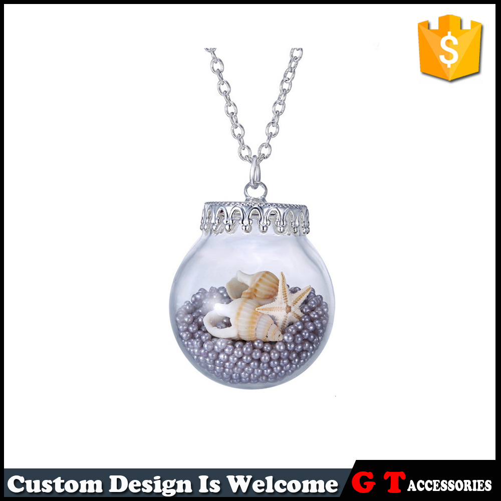 Newest Style Global Glass Bottle Pendant Necklace Locket Necklace With Starfish Conch Pearl Glass Ball Pendant Necklace