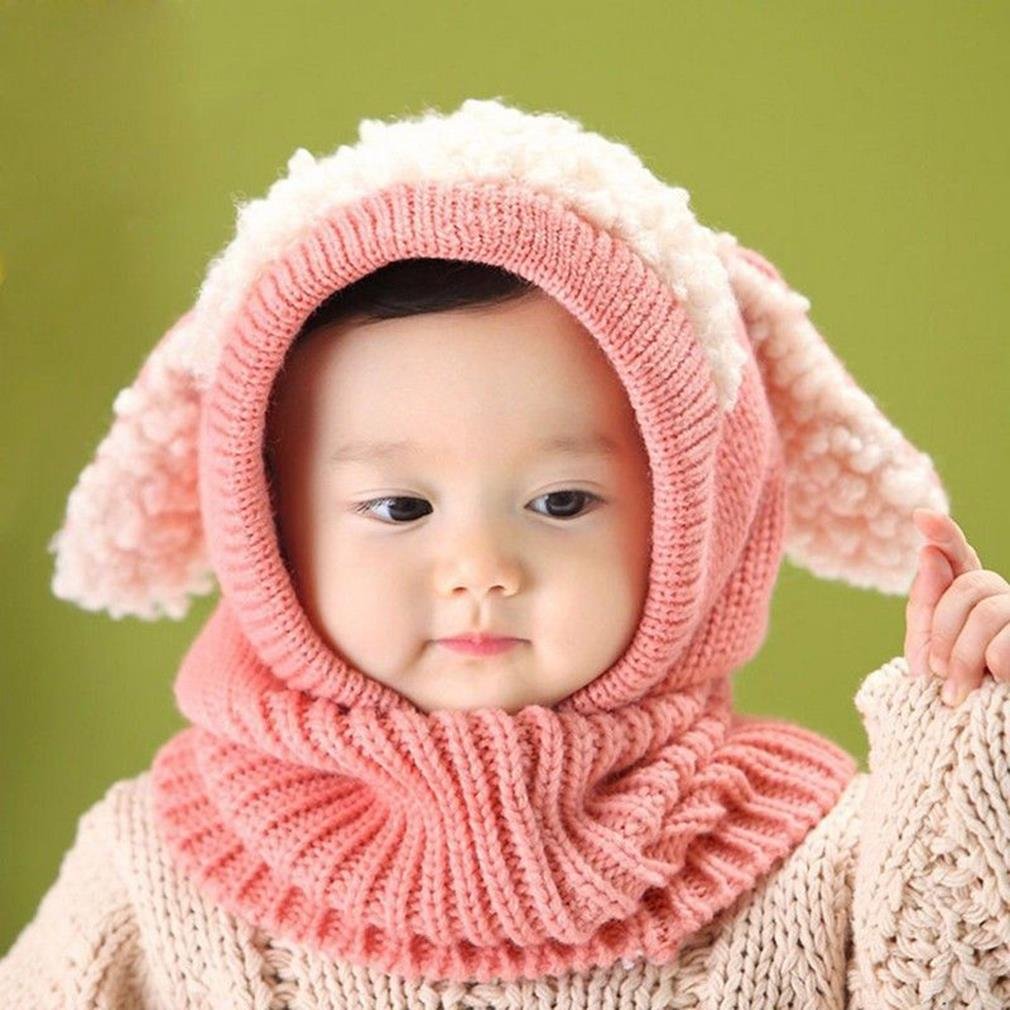 Winter Baby Girl Boy Warm Cute Dog Pattern Knitted Crochet Hooded Neck Hat Cap Beanie Scarf