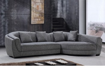 Round Corner Leather Sofas Furniture Cheap L Shape Sectional Sofa