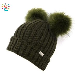 09e2445172b Winter Hat With Two Fur Balls