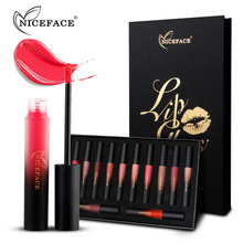 NICEFACE 12 stks/set Vloeibare Matte Lipstick Sexy Rose Rode Lipgloss Waterdichte Langdurige Elegante Naakt Lip Stick Up Set Kits