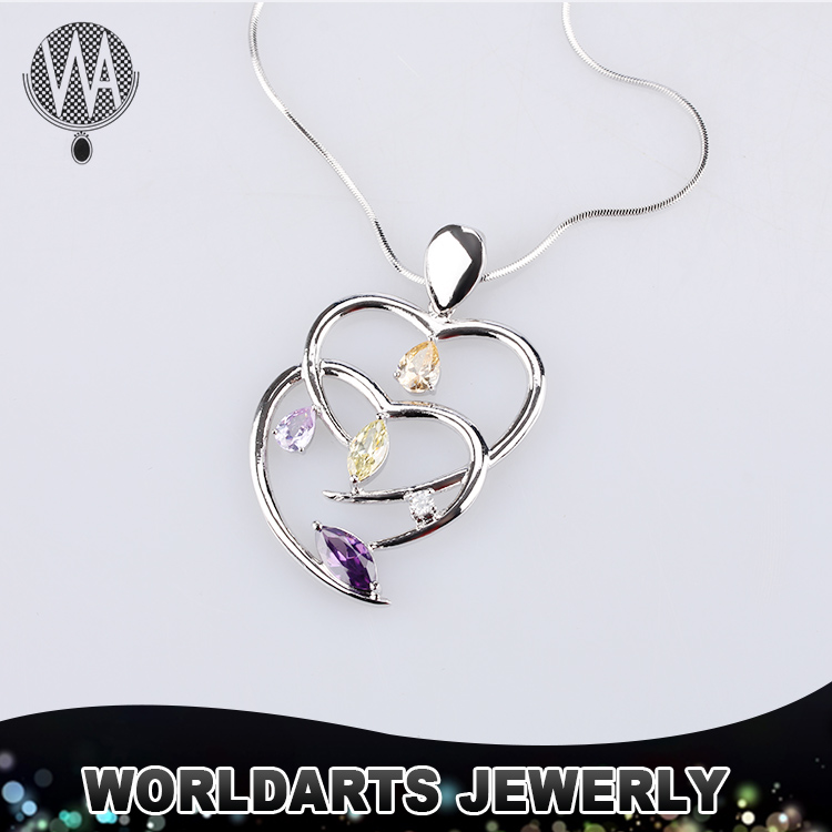 2016 Lover Double crystal heart pendant necklace