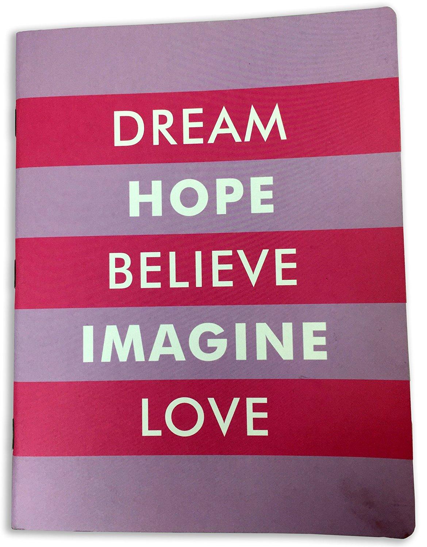 """Muse Pink Striped Note Book """"Dream, Hope, Believe, Imagine, Love"""""""