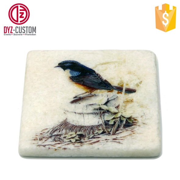 Square White Marble Coaster Marble Stone Coasters with cork back