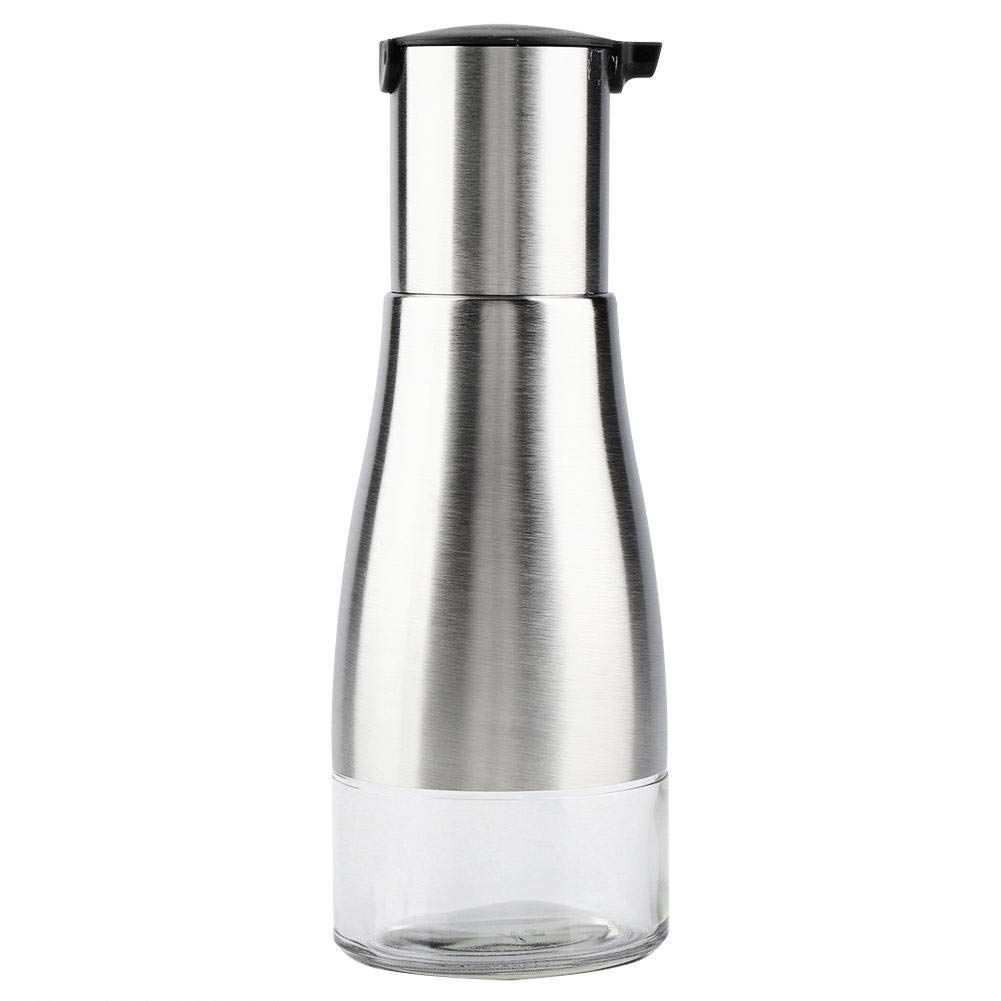 Oil Dispenser,Portable Stainless Steel Glass Oil Bottle Kitchen Vinegar Sauce Dispenser Container 320ML(Black)
