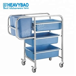 Stainless Steel Plastic Catering Hotel Kitchen Restaurant Dish Collection food Cleaning Serve Trolley Clearing Cart