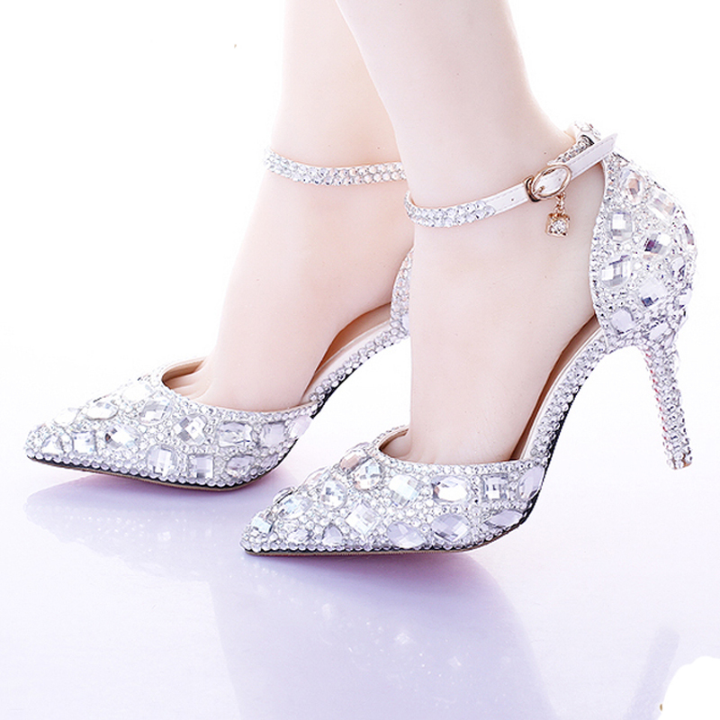 get quotations pointed toe silver pumps ab color bridal shoes rhinestone high heel glitter women pumps comfortable wedding