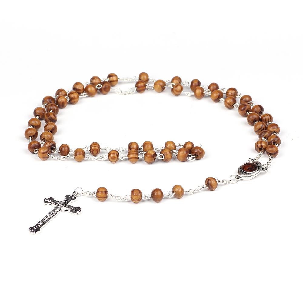 Grosir Manik Kayu Liontin Salib Rosario Kalung Katolik Doa Ortodoks