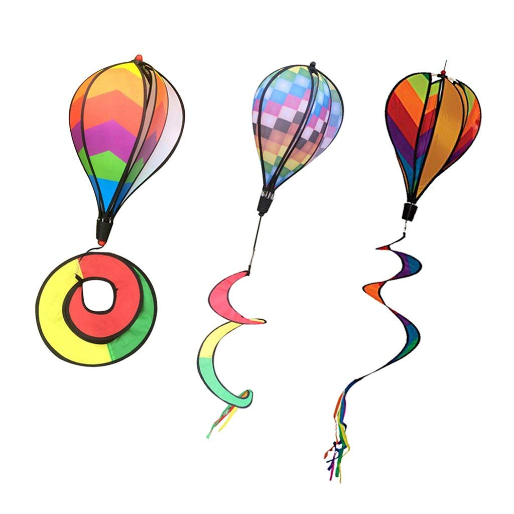 Homyl 3Pcs Colorful Hot Air Balloons Wind Windsock Windmill Outdoor Whirligig Toy Garden Lwan Yard Home Decoration Ornament
