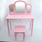 Factory wholesale Pink Wooden children dressing table set with mirror glass