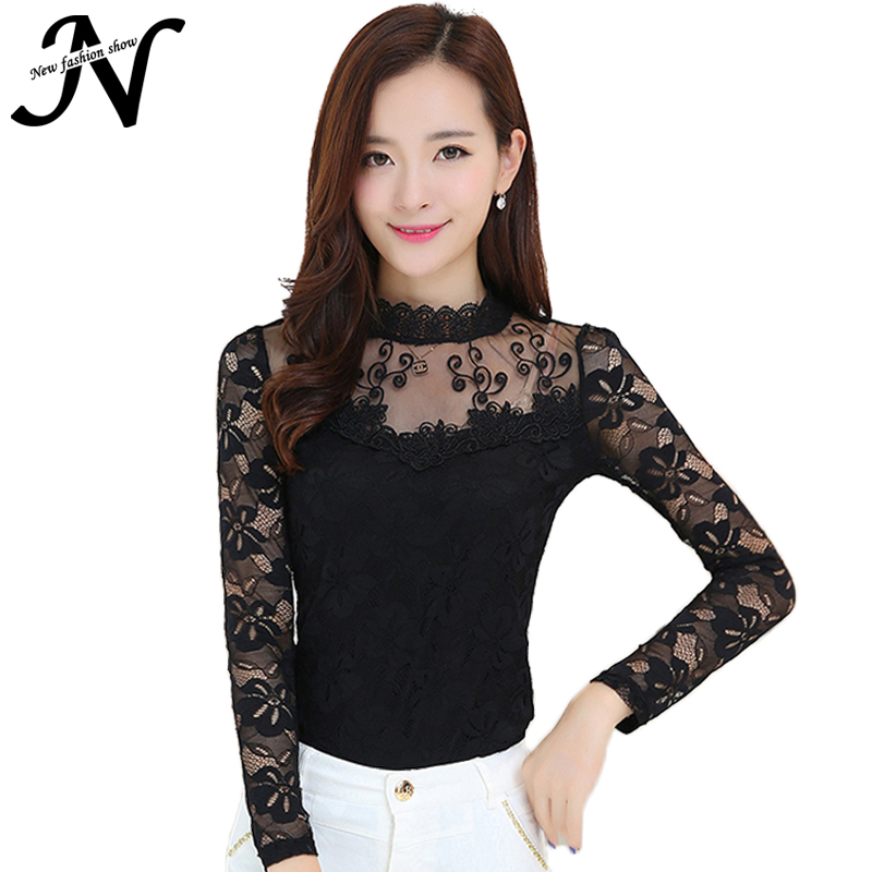 Women Tops Stand Collar Long Sleeve Lace Blouse 2015 Women Autumn Fashion Korean Style Black White Ladies Plus Size Tops 3036