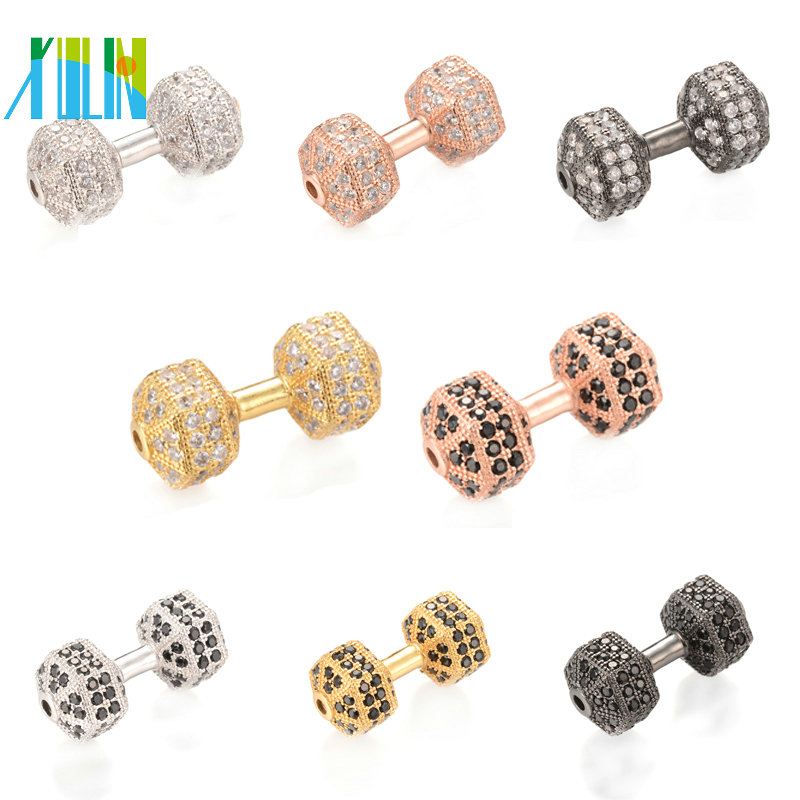 XULIN ECO-Friendly Dumbbell Shape Micro Pave Connector with Cubic Zirconia Size 24.8*11.3 mm