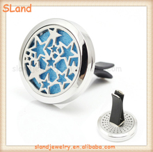 Stars Mini 30mm Round Aromatherapy Essential Oil Car Diffuser Stainless steel metal Car Air Conditioner Vent Clip Jewelry