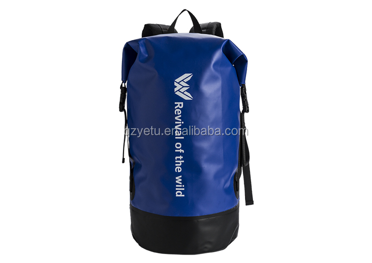 Custom Logo Low MOQ 500D PVC Tarpaulin 40L Outdoor Camping Hiking Climbing Bag Fully Waterproof Dry Backpack