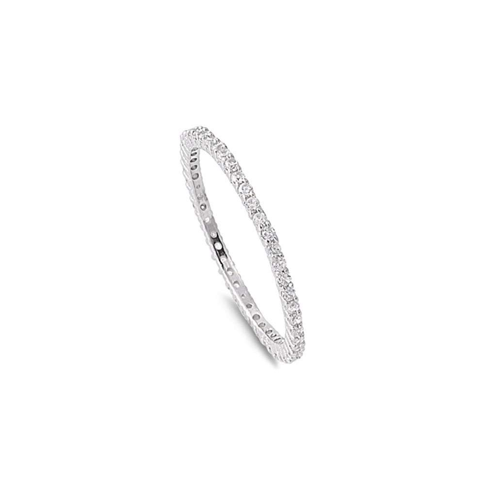 Noureda Sterling Silver Classy Stackable Ring with Clear Simulated Crystals on Square Half-Bezel Setting with Rhodium Finish, Band Width 1.5MM