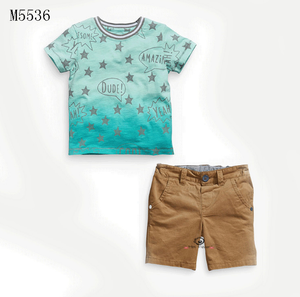 boys golden stars tee and khaki shorts 2 pcs set
