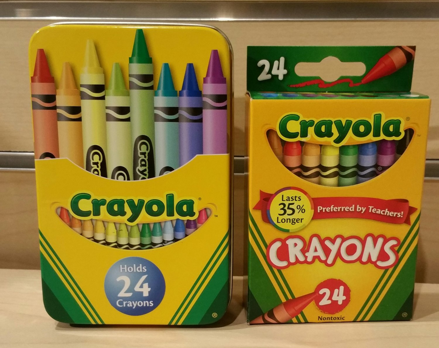 Crayola Storage Tin Storage Box And Box Of 24 Crayola Crayons