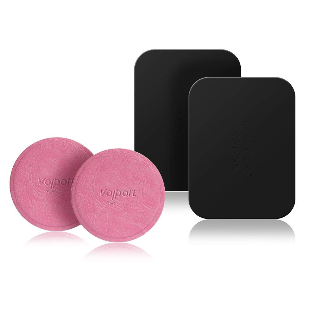 Leather Mount Metal Plate 2 Round, Universal Pink Metal Plate 2 Rectangle, for Magnetic Car Phone Mount Holder(Pink+Rectangle)