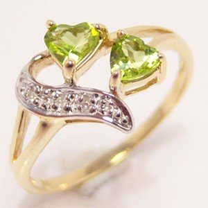 Solid Yellow Gold Natural Peridot & Genuine Diamond Ring