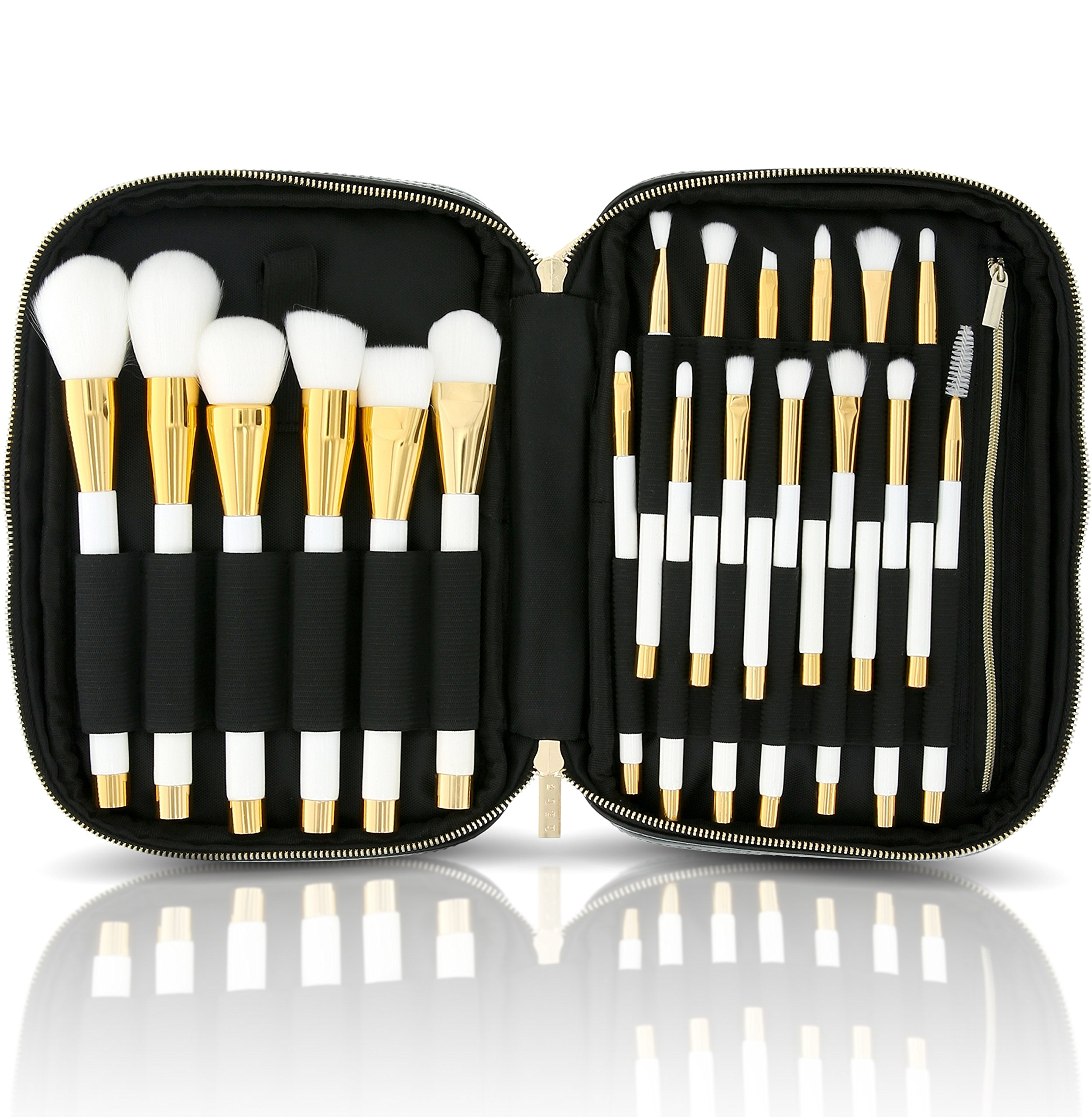 1a31043f41 Get Quotations · habe Makeup Brush Organizer Bag - Travel Case w  20  Stretchy Brush Holders - Fits