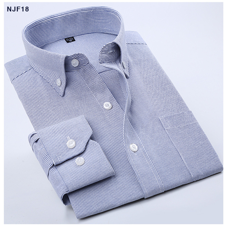 1f4b41168168f7 Wholesale-2016 Mens Blue/White Stripe Oxford Dress Shirt Regular Fit Long  Sleeve Cotton Blend Unelastic Business Formal Button-Down Shirts
