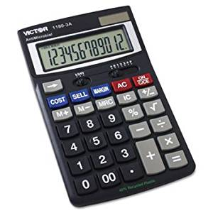 ** 1180-3A Antimicrobial Desktop Calculator, 12-Digit LCD **