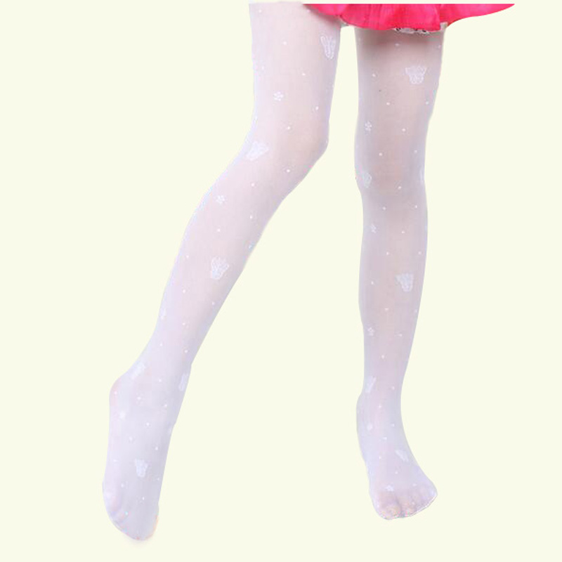 Buenos Ninos Summer Ultra thin Jacquard Butterfly or Bear Leggings Child Pantyhose Stockings Anti hook Girl