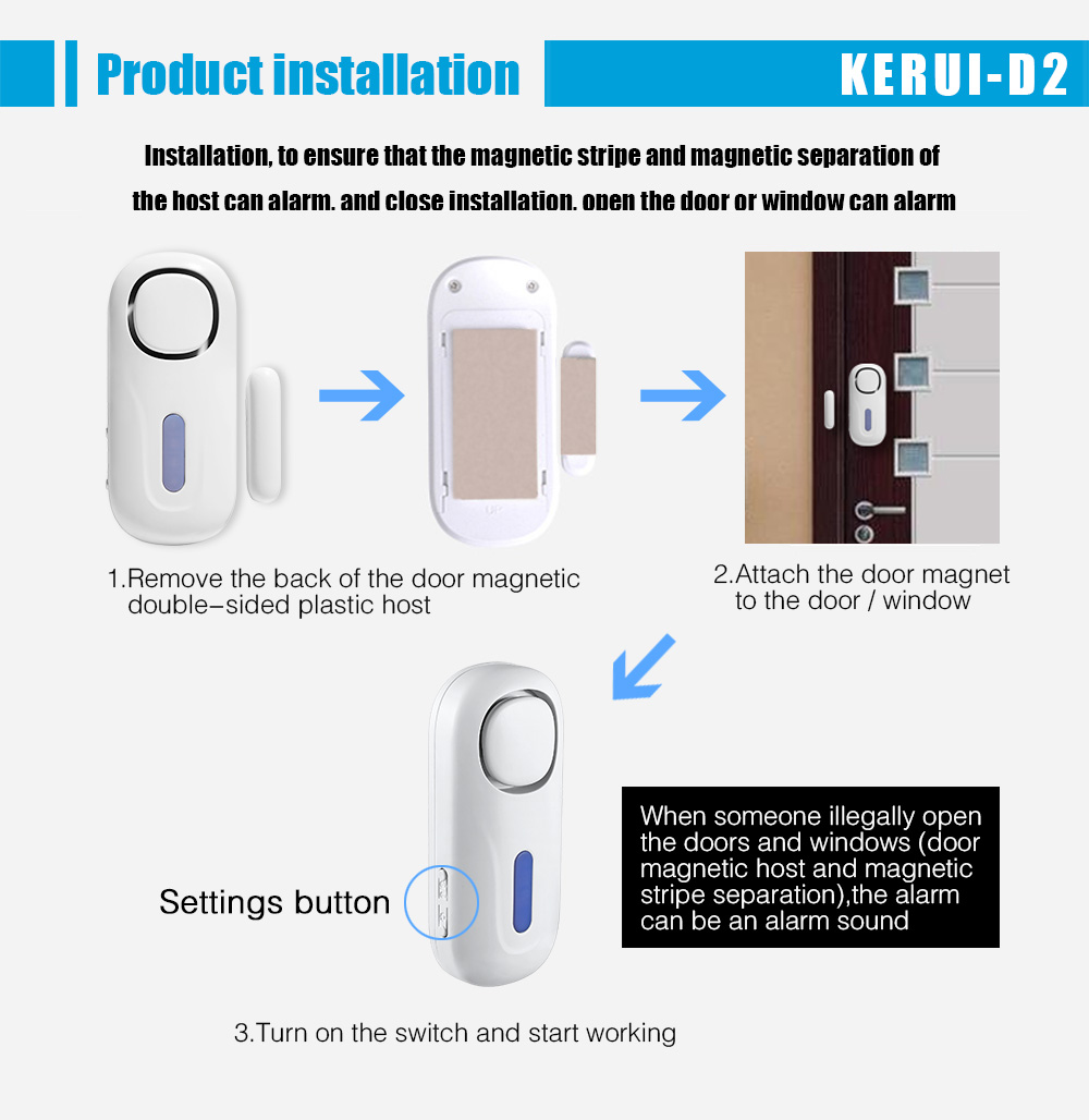 Door/Window entry gap Magnetic sensor Security Alarm with Remote Control Wireless Door Sensor Alarm