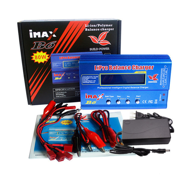 QD032 แบตเตอรี่ Lipro Balance Charger iMAX B6 charger Lipro Digital Balance Charger + 12 v 6A Power Adapter + ชาร์จสาย