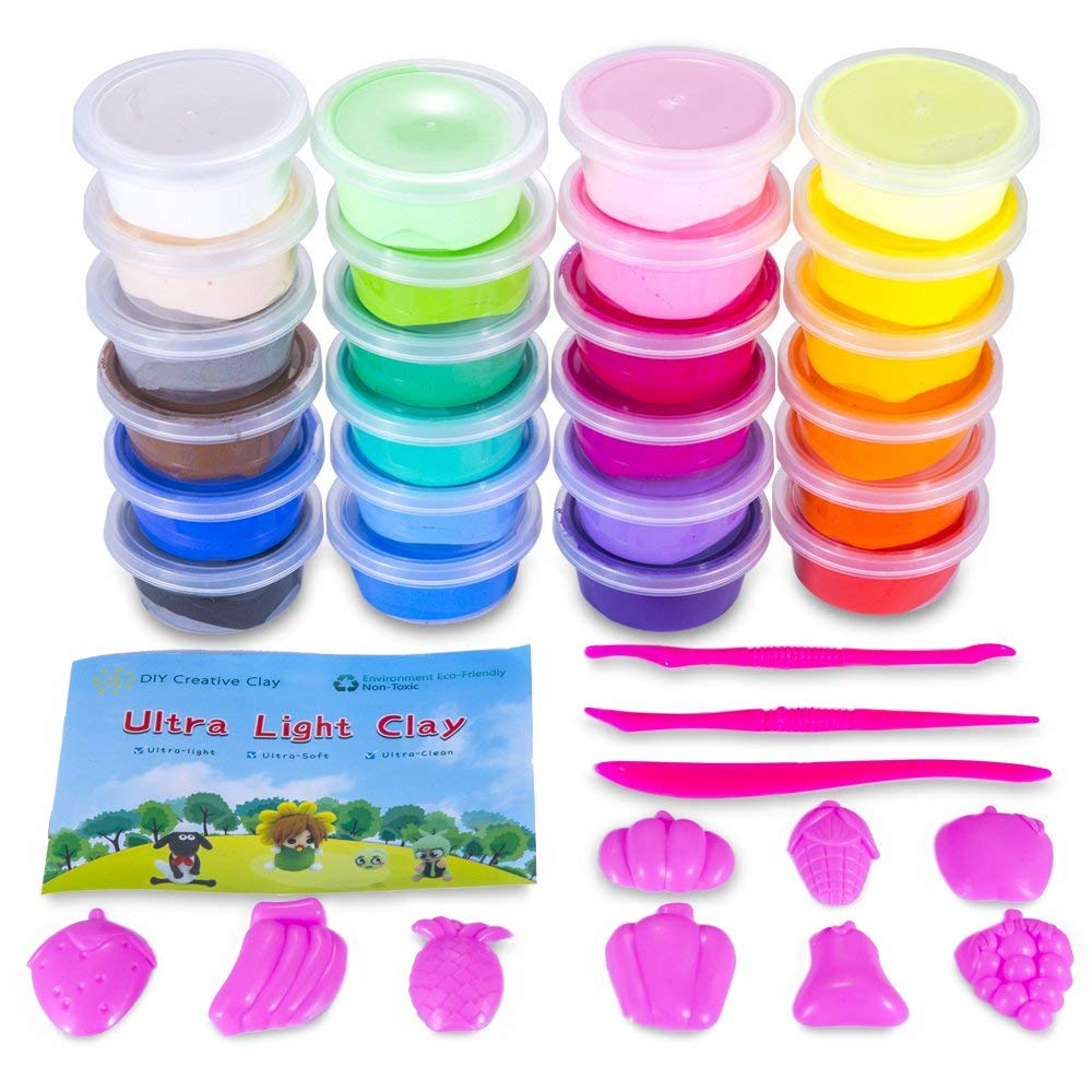 ESAND Air Dry Clay, 24 Colors Modeling Clay Set Best Gift for Kids, Ultra Light Magic Soft Clay with Modeling Tools and Project, No-Sticky and Non-Toxic