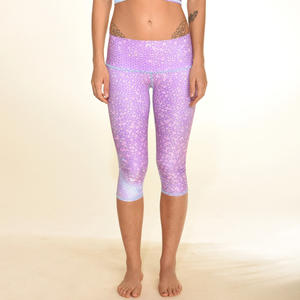 Womens custom modal recycled pet bottle leggings shiny 3/4 length yoga pants