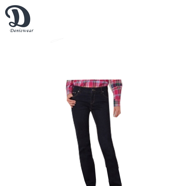 Terbaru Slim Fit Womens 5 Kantong Peregangan Denim Jeans