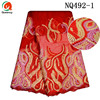 Queency Hot Beautiful Red African Wedding Embroidery French Lace Fabric With Sequins