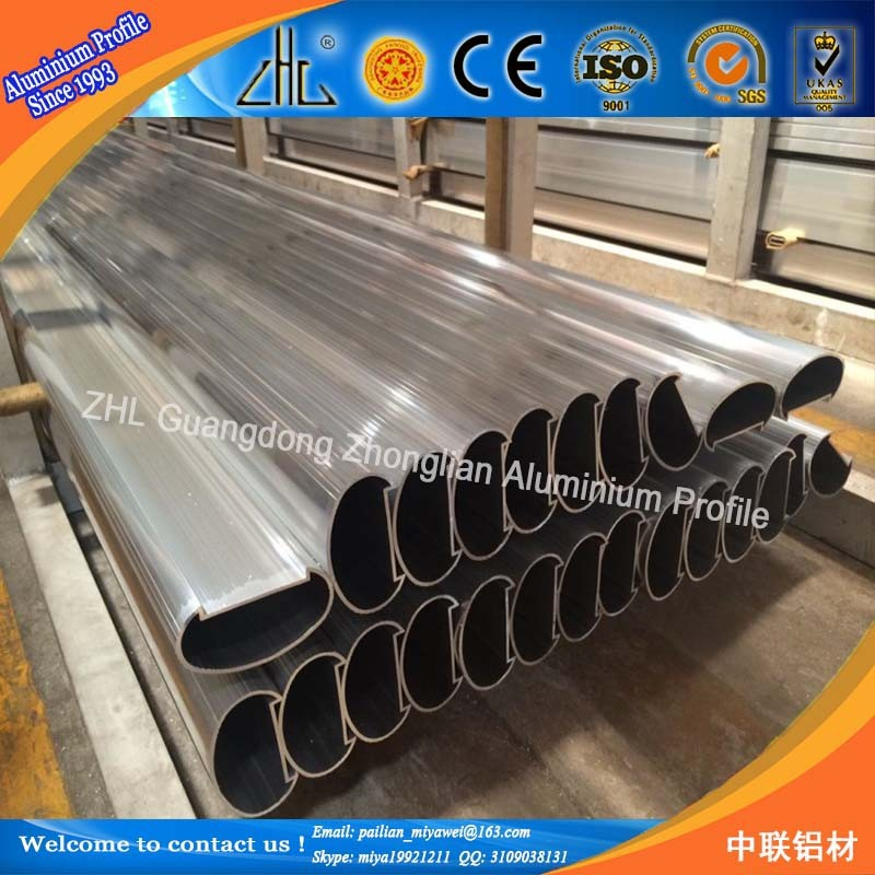 SS finish Aluminum pipe railing handrail / Aluminum handrail for stairs / oval aluminum extrusion profile for handrial