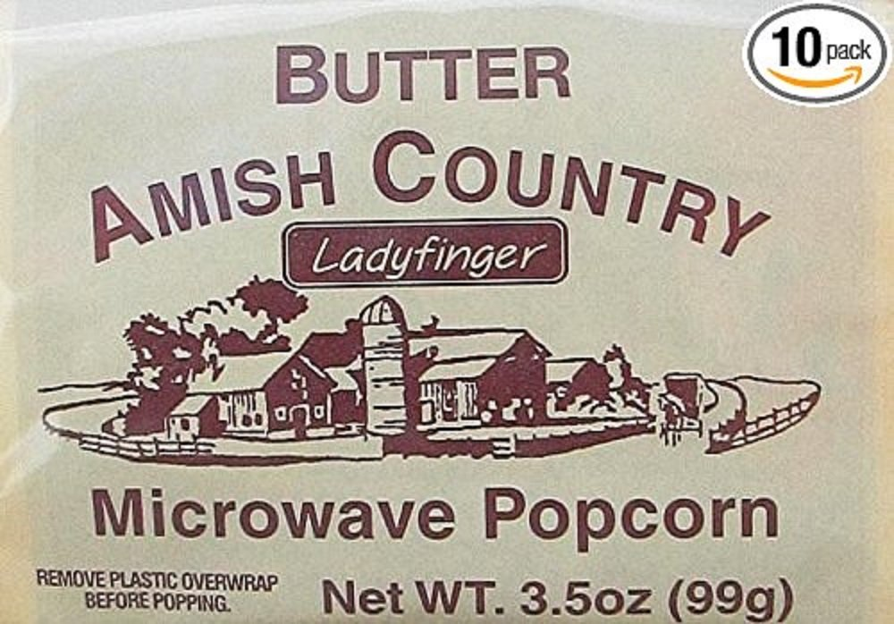 Amish Country Popcorn - Ladyfinger Butter - Old Fashioned Microwave Popcorn - All Natrual, Gluten Free, and Non GMO (10 Bags)