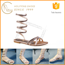 Latest flat bridal sandals,Rhinestone knee high gladiator sandals