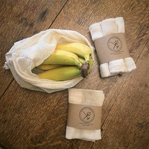 Eco friendly organic cotton mesh vegetable bag for fresh fruit or veggie
