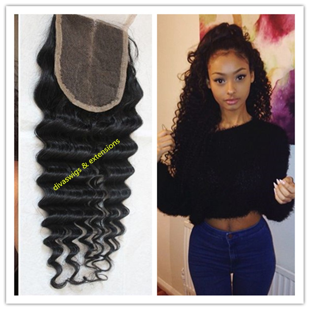 Top Quality Free/middle/three Part Brazilian human Hair 1# deep wave Silk Base Lace Closure with Baby Hair