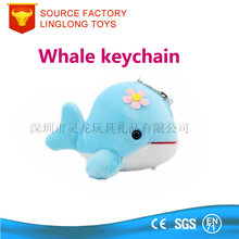 10cm plush toy whale keychain soft plush sea animal keychain plush whale key ring for phone