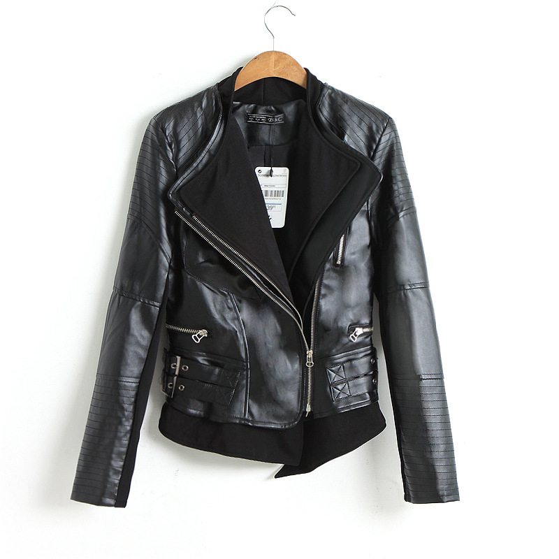 C82800A double collar slim washed leather PU leather women's leather jackets