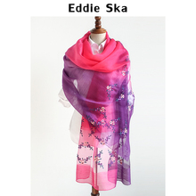 EDDIE&SKA PASHMINAS - ESCF1817 - embroidered women's silk scarf