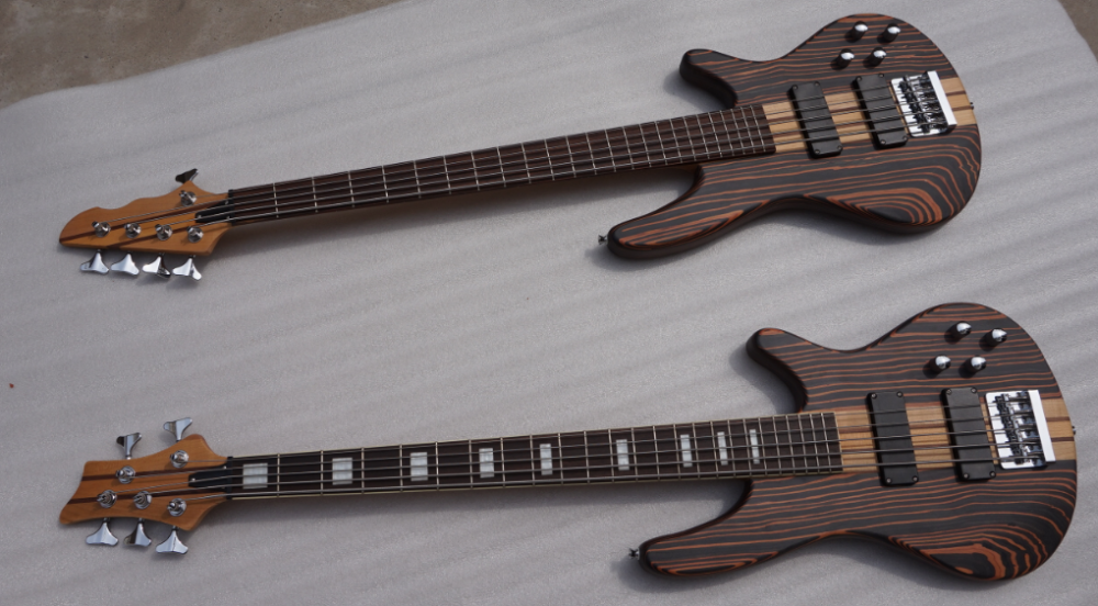 5 String Wholesale Aiersi Solid Zebrawood Body Electric Bass Guitar