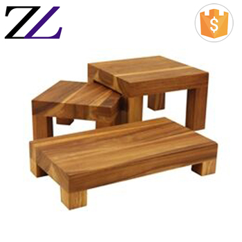 Catering Decorations Acacia Wood Shelves Restaurant Furniture Tableware Wooden Frames Height Buffet Display Riser