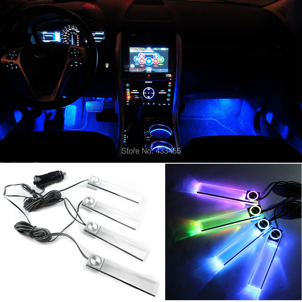 4pcs Set Multicolor Automotive Ambient Light Car Led Mood