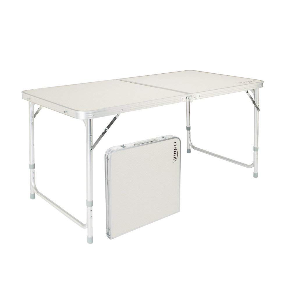 Get Quotations · Z ZTDM 4 Foot Folding Table With Carrying Handle, Portable  Aluminum Picnic Camping Dining Adjustable