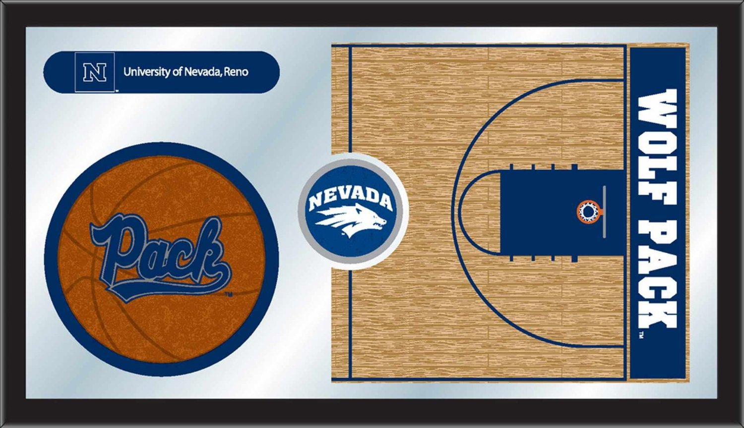 "Nevada Wolfpack HBS Navy Basketball Framed Hanging Glass Wall Mirror (26""x15"")"